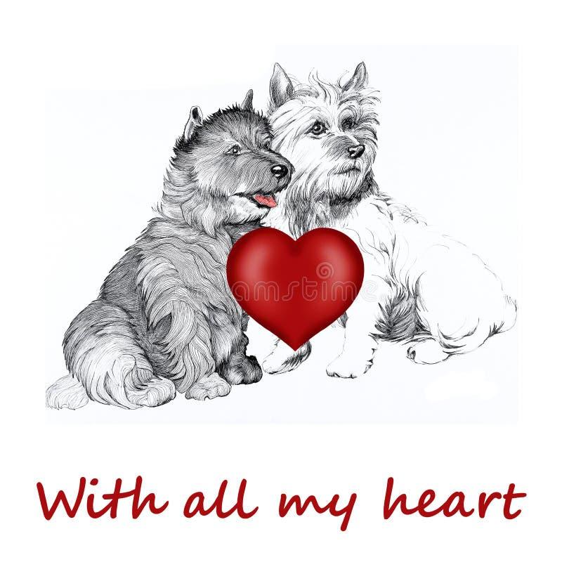 Cane del Collie con il cuore del biglietto di S. Valentino royalty illustrazione gratis