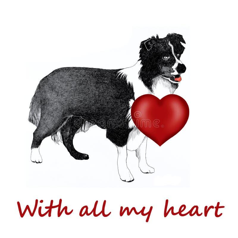 Cane del Collie con il cuore di amore illustrazione vettoriale