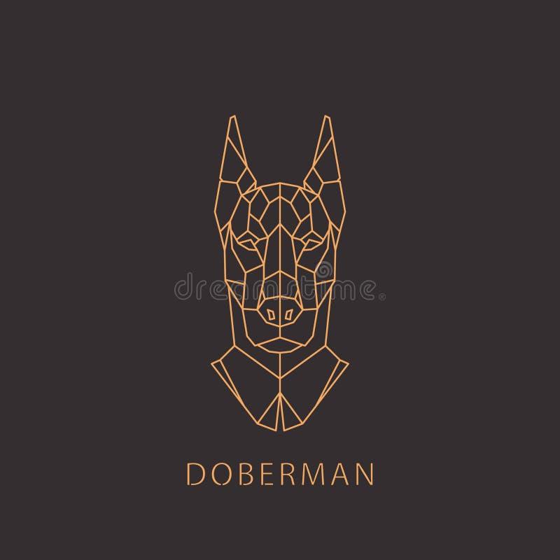 Cane del doberman nello stile moderno geometrico illustrazione di stock