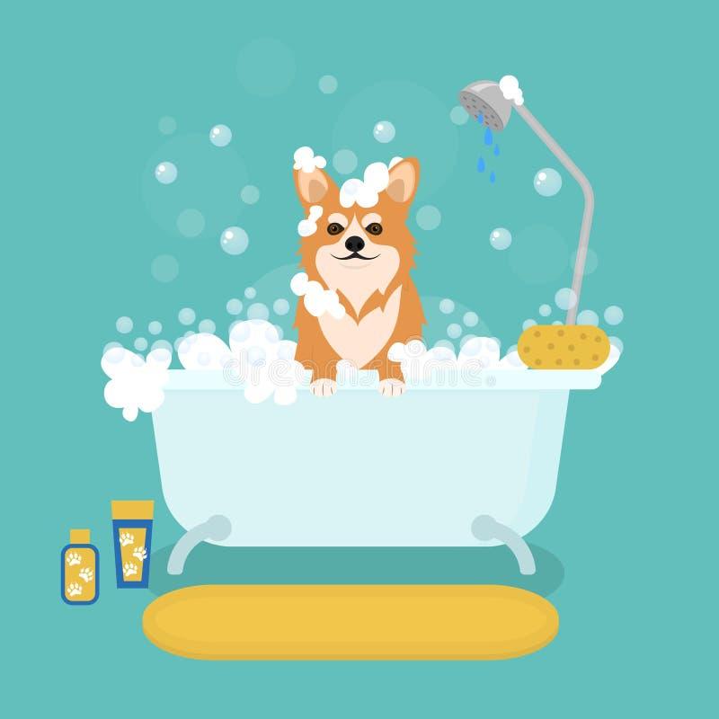 Cane del fumetto nei servizi governare del bagno Vettore illustrazione di stock