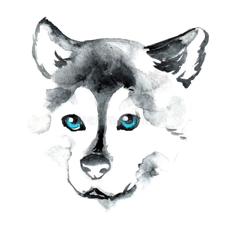 Cane dell'acquerello con gli occhi azzurri immagine stock
