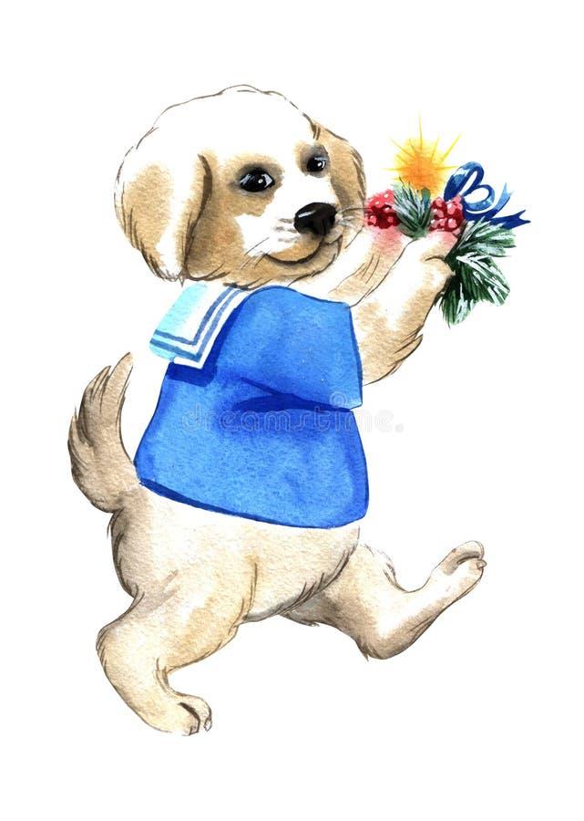 Cane dell'illustrazione dell'acquerello con l'oggetto isolato variopinto delle candele su fondo bianco per la pubblicità illustrazione vettoriale