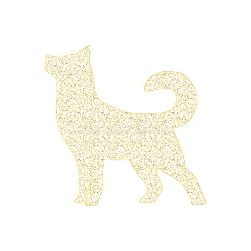 Cane 2018 dell'oro del nuovo anno illustrazione di stock