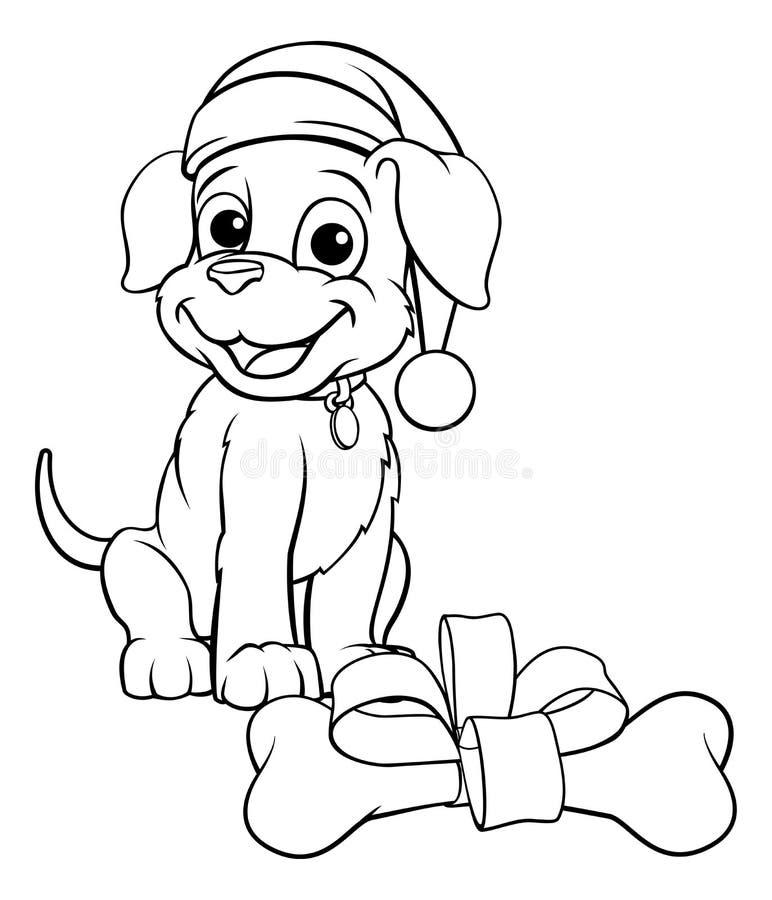 Cane di animale domestico in Natale Santa Claus Hat ed osso del regalo royalty illustrazione gratis