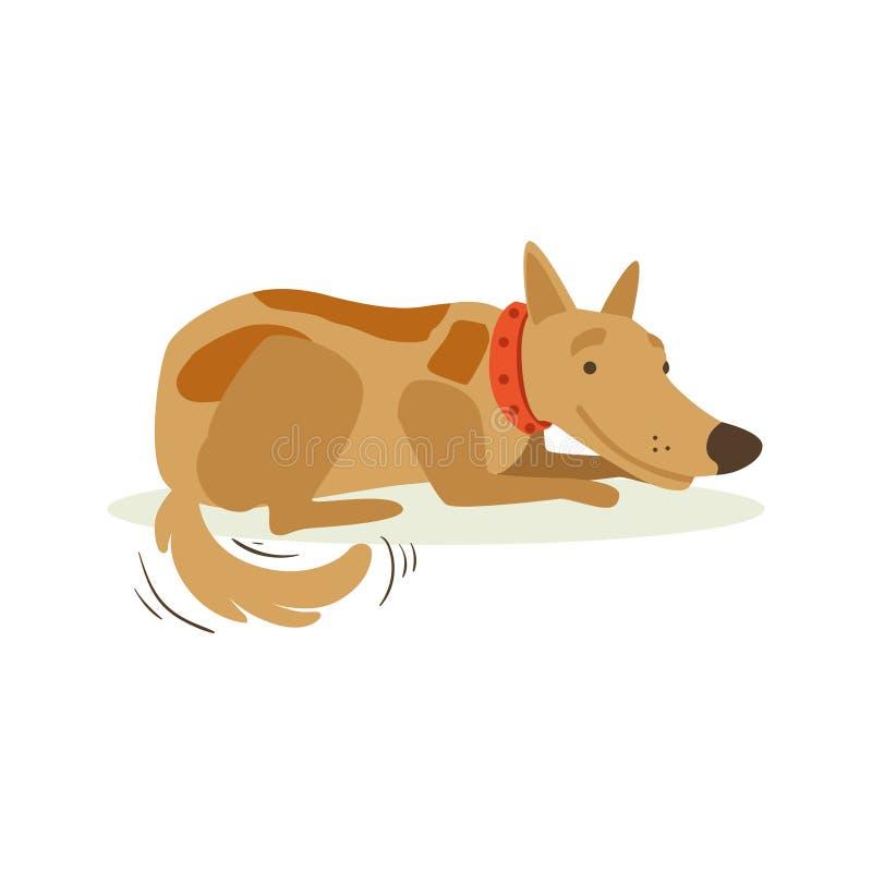 Cane di animale domestico sorridente di Brown che si situa, illustrazione animale del fumetto di emozione royalty illustrazione gratis