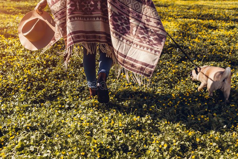 Cane di camminata del carlino della donna nel funzionamento felice del cucciolo della foresta di primavera fra i fiori gialli di  fotografia stock