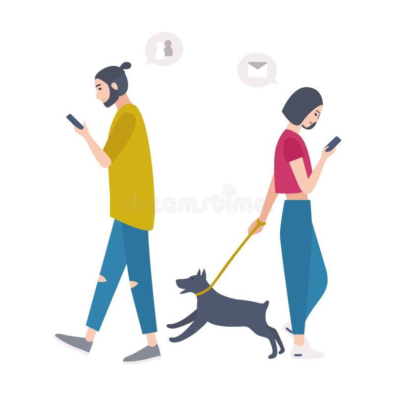 Cane di camminata della giovane donna sul guinzaglio e sull'uomo che passano da a vicenda, esaminanti i loro telefoni cellulari e illustrazione vettoriale