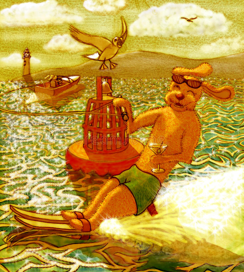 Cane di corsa con gli sci di acqua fotografia stock libera da diritti