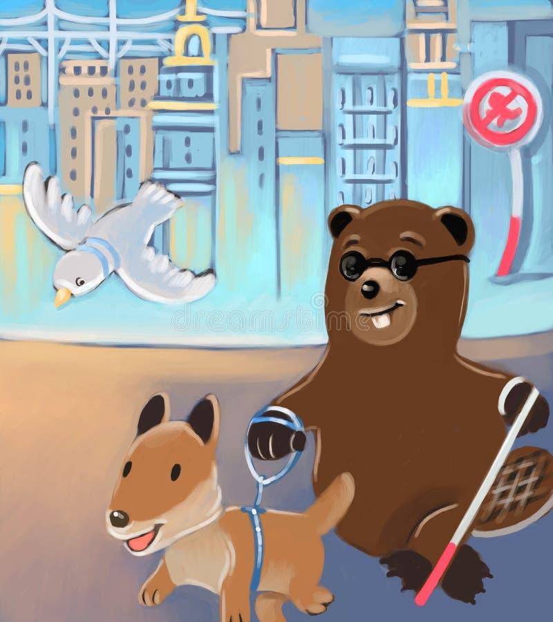 Cane di guida e del castoro illustrazione di stock