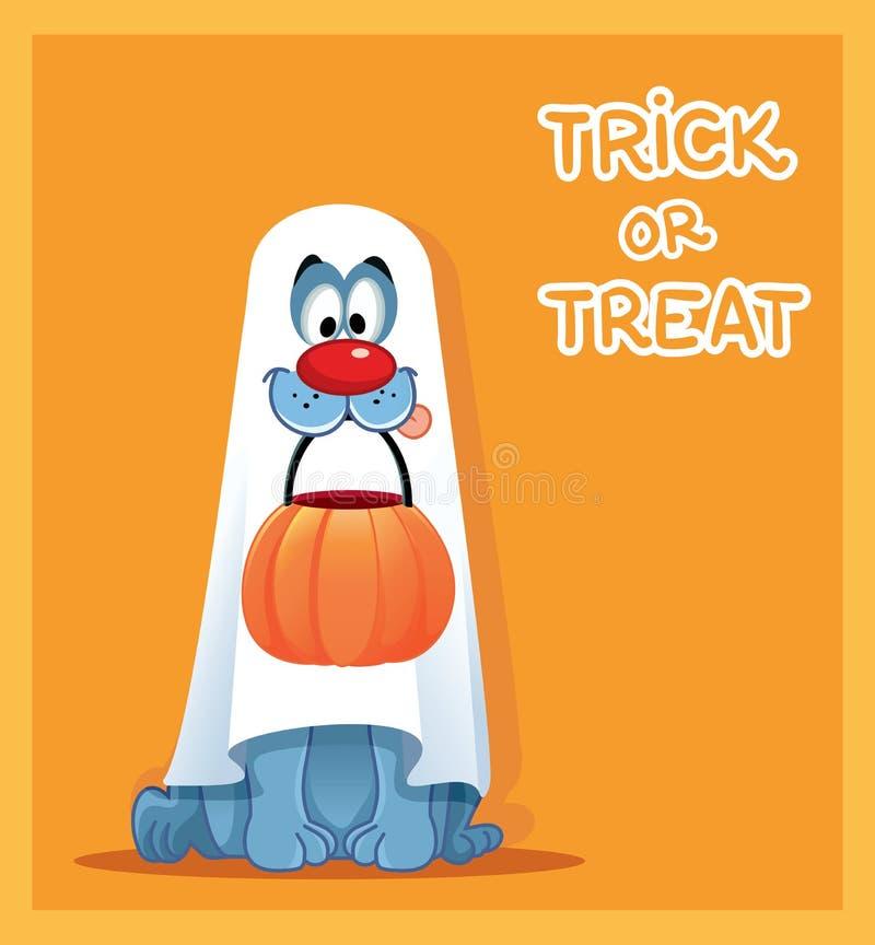 Cane divertente in costume del fantasma che celebra Halloween royalty illustrazione gratis