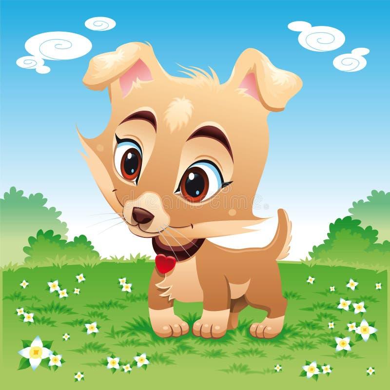 Cane divertente del bambino nel prato illustrazione di stock