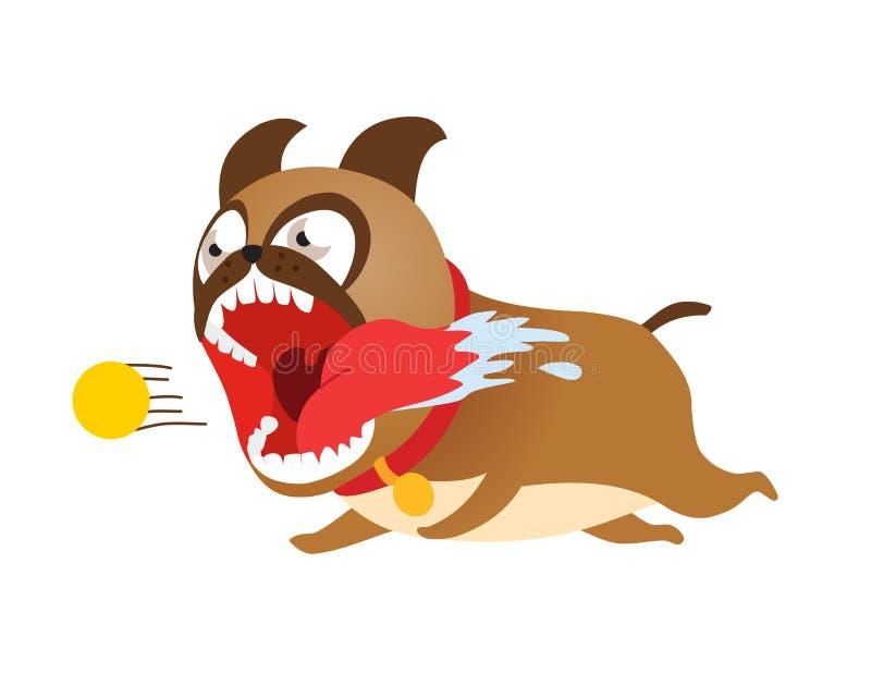 Cane divertente del fumetto che corre dopo la pallina da tennis Illustrazione sveglia di vettore del cucciolo illustrazione vettoriale