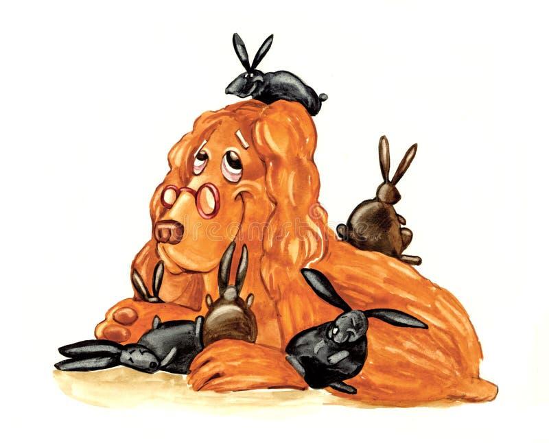 Cane e coniglietti dello Spaniel illustrazione di stock