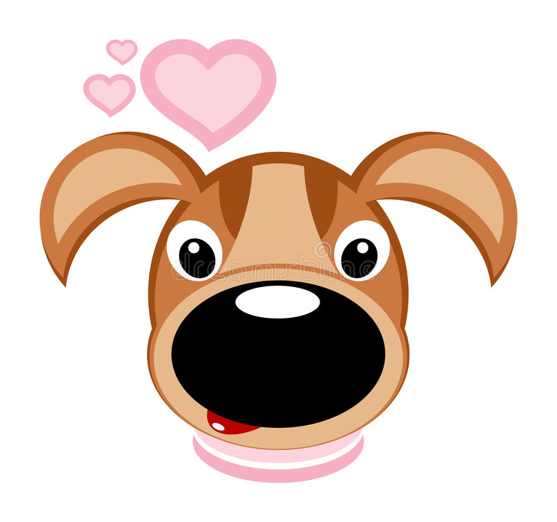 Cane e cuori - vettore royalty illustrazione gratis