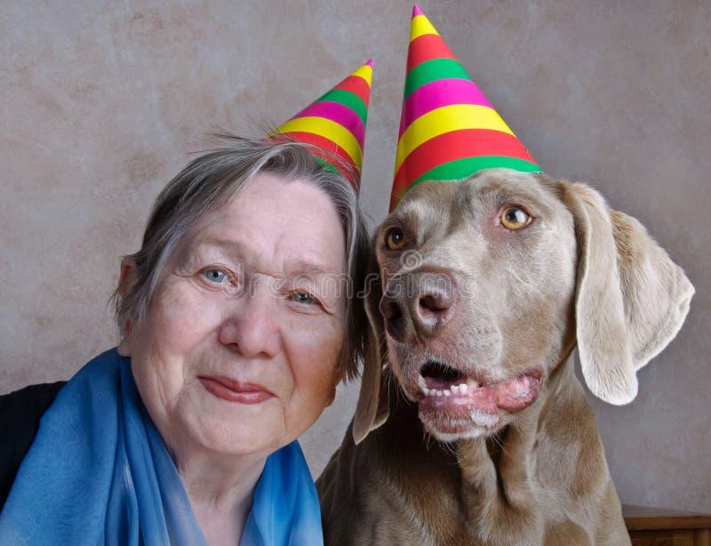 Cane e donna maggiore immagini stock