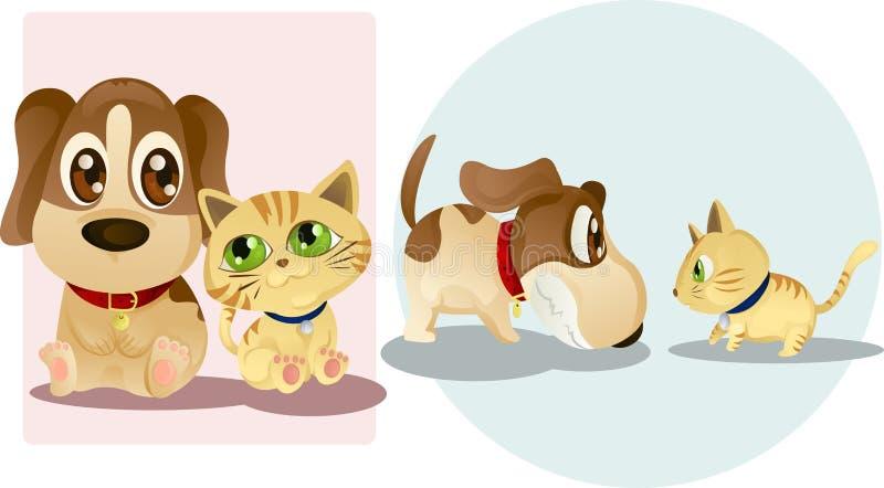 Cane e gatto illustrazione vettoriale
