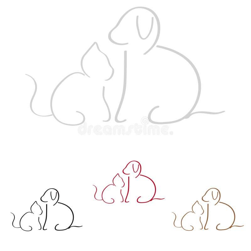 Cane e gatto illustrazione di stock