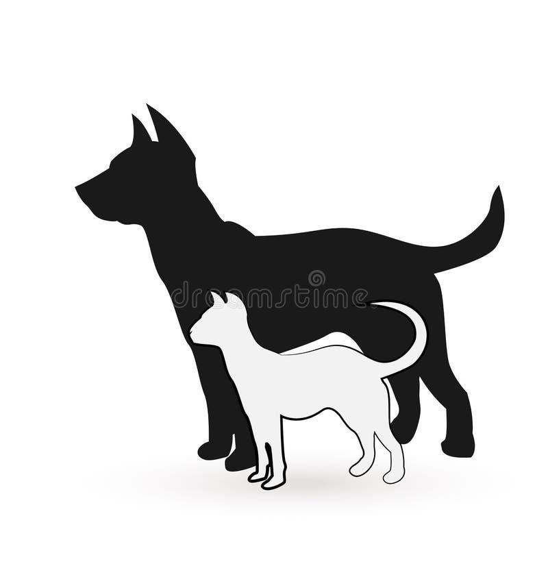 Cane e gatto che posano insieme logo di vettore dell'icona illustrazione vettoriale