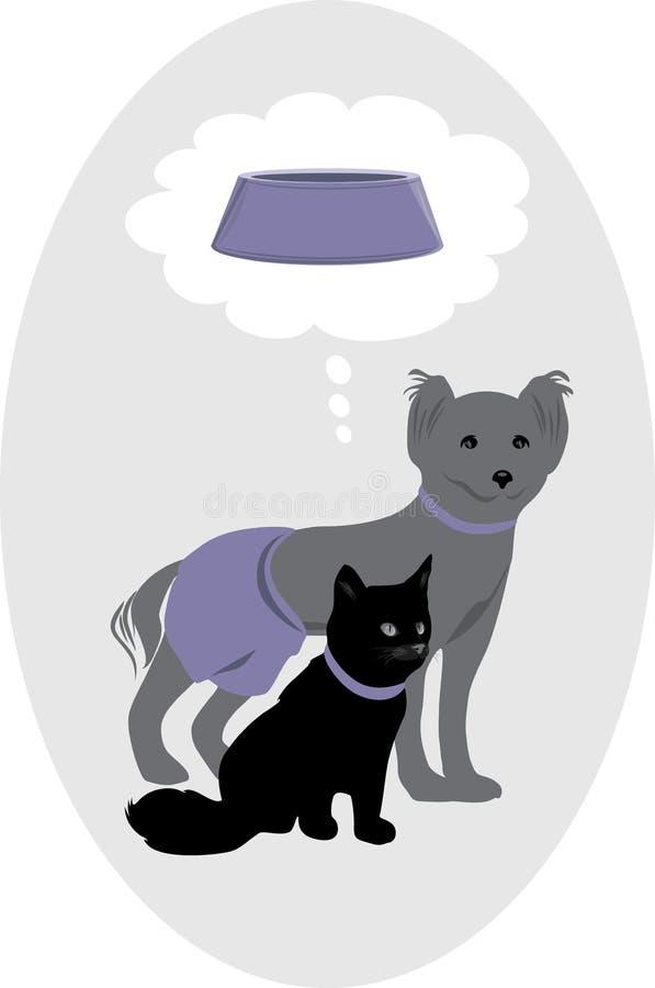 Cane e gatto che sognano di un alimento per animali domestici delizioso illustrazione vettoriale