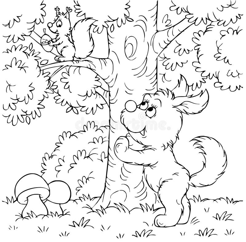 Cane e scoiattolo royalty illustrazione gratis