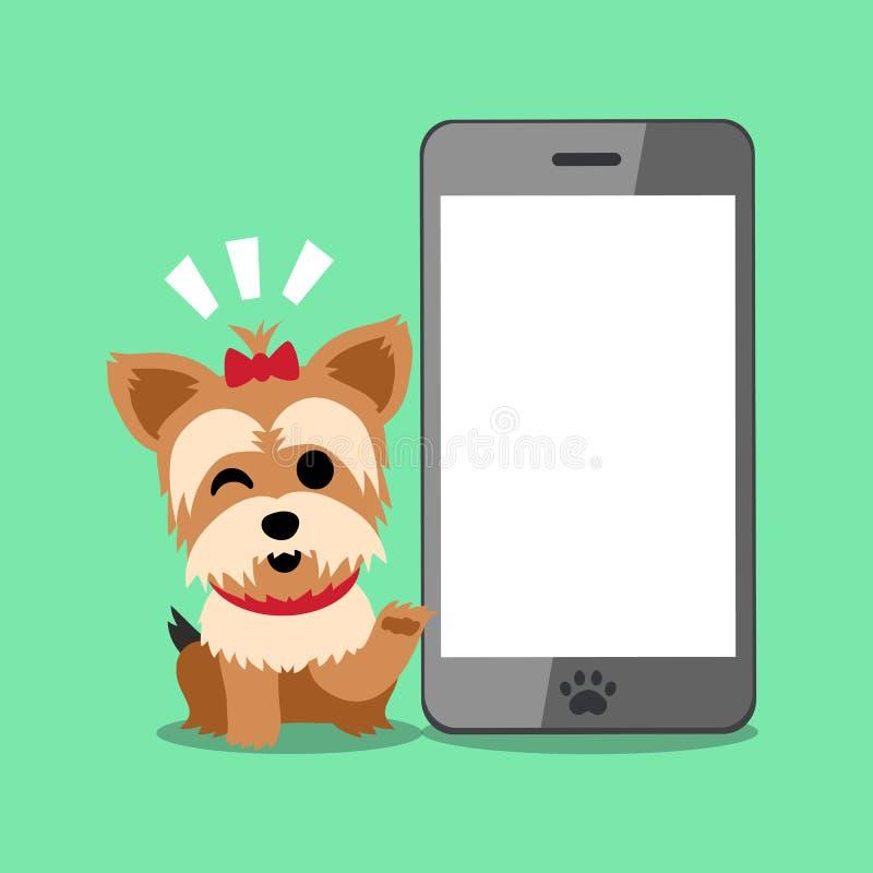 Cane e smartphone dell'Yorkshire terrier del personaggio dei cartoni animati illustrazione di stock