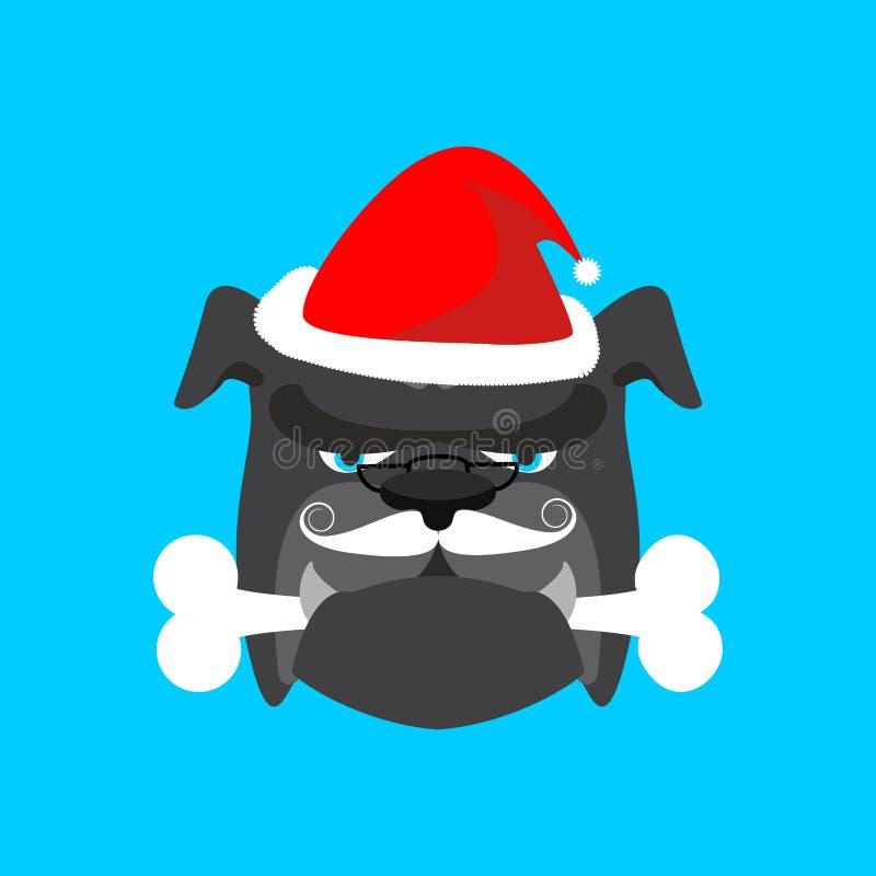 Cane ed osso di Santa Il Natale si dirige l'animale domestico Vettore del nuovo anno e di natale royalty illustrazione gratis