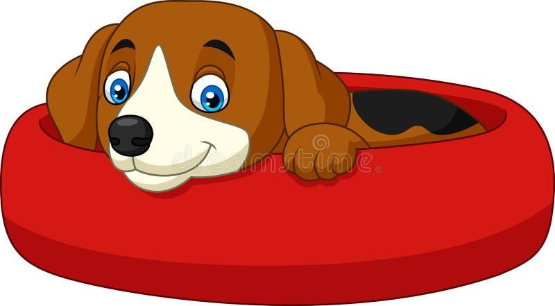 Cane felice del fumetto che si rilassa nella tana illustrazione vettoriale