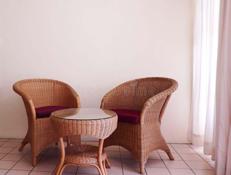 Cane Furniture lounge set royalty free stock photo