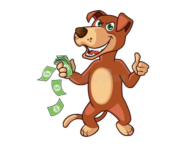Cane ingannevole furioso con soldi in mano illustrazione di stock