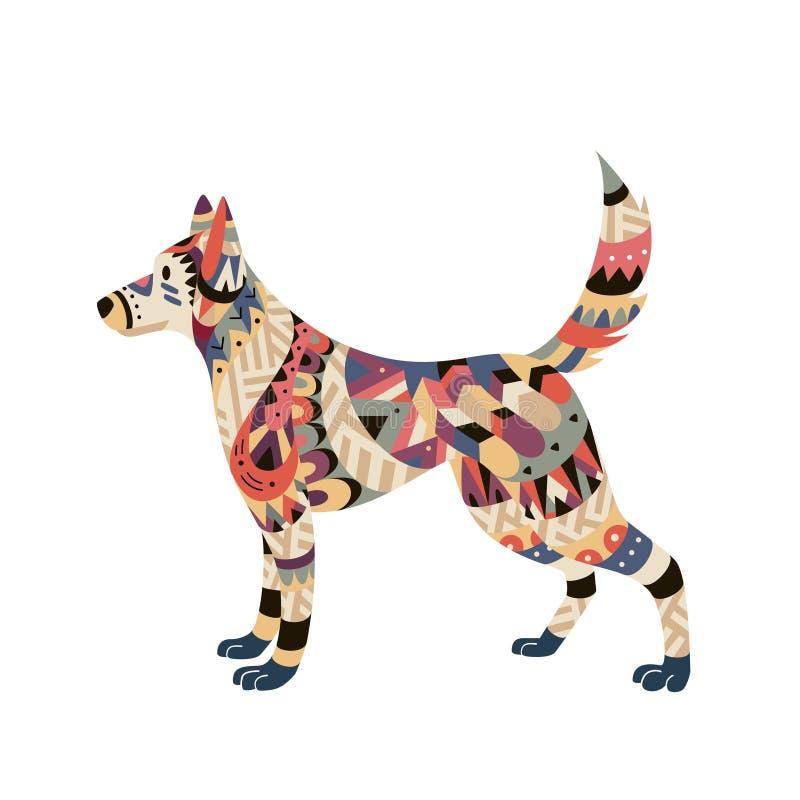 Cane isolato nello stile tribale, un simbolo di 2018 royalty illustrazione gratis