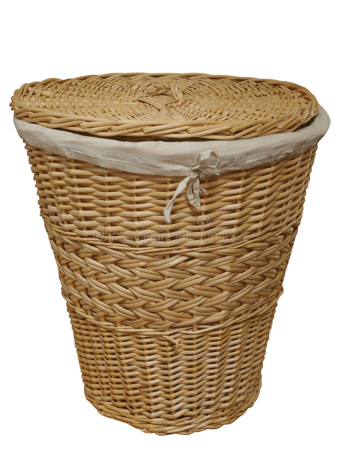 Cane Laundry Hamper. Isolated with clipping path stock photo