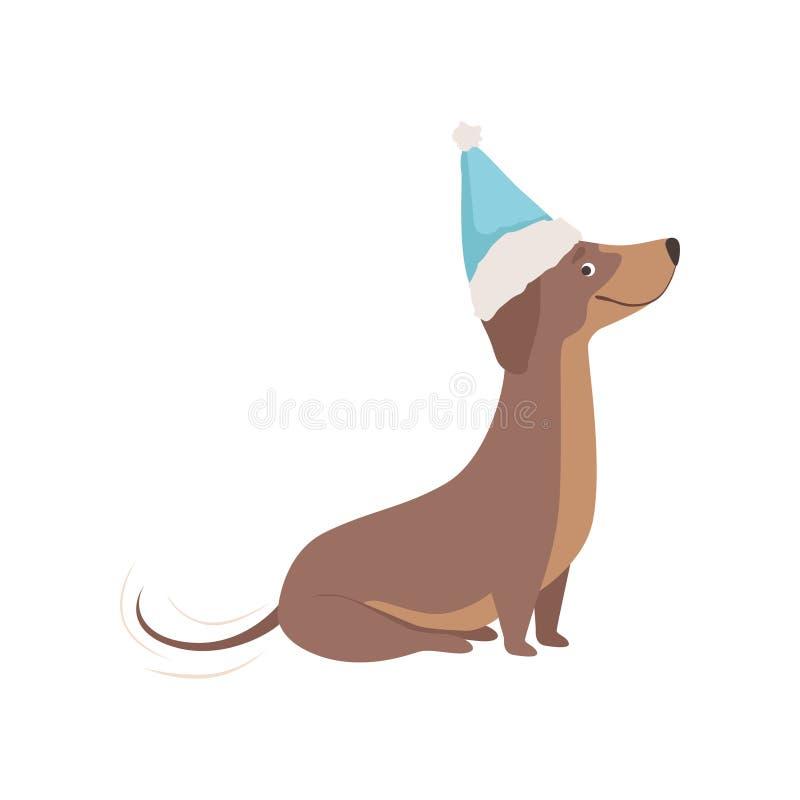 Cane marrone di razza del bassotto tedesco in un'illustrazione blu di vettore del cappello di Santa su un fondo bianco royalty illustrazione gratis