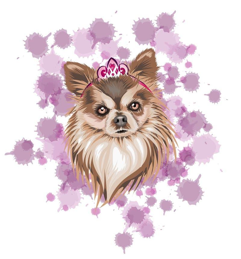 Cane nell'illustrazione marrone di vettore con i toni leggeri e scuri come l'icona della regina con una corona e un fondo rosso-c illustrazione di stock
