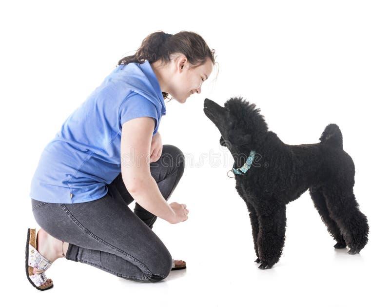 Cane, proprietario ed obbedienza fotografia stock libera da diritti
