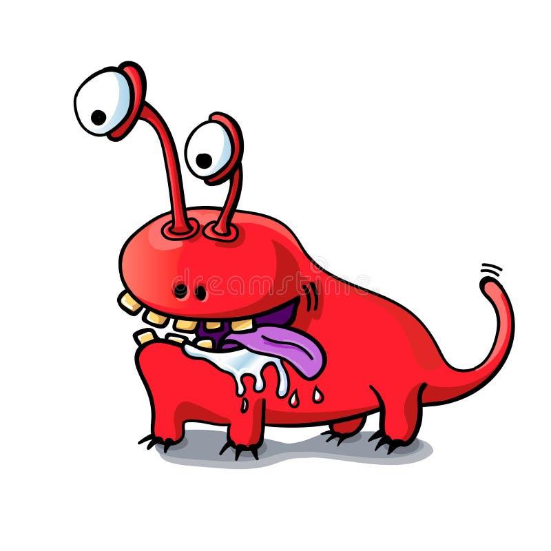 Cane rosso del mostro del fumetto sveglio isolato su fondo bianco illustrazione vettoriale