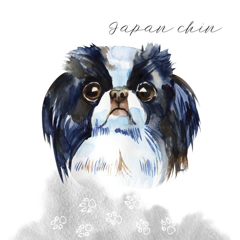 Cane sveglio - mento giapponese illustrazione dell'acquerello isolata illustrazione vettoriale
