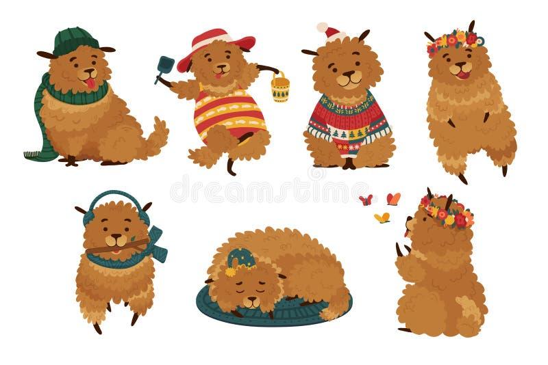Cane sveglio stabilito con differenti vestiti Carattere divertente canino per le stagioni differenti Cuccioli con gli accessori,  royalty illustrazione gratis