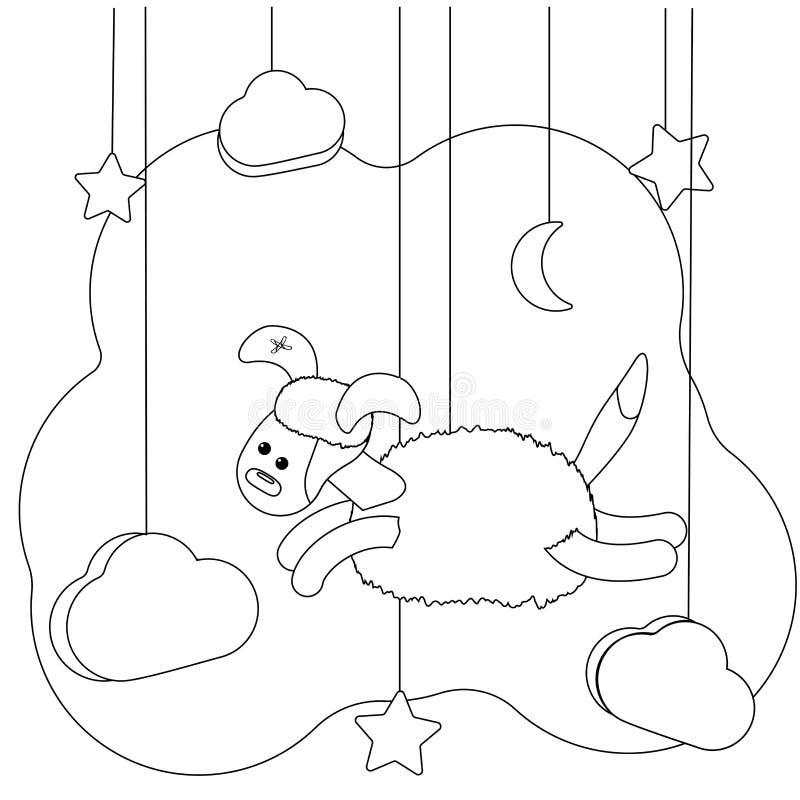 Cane volante sveglio Pagina di coloritura per i bambini Svago educativo animale dell'illustrazione per il libro da colorare Cucci illustrazione di stock