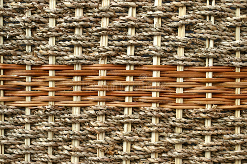 Cane weave. Detail of wicker and cane basket. Natural background stock image