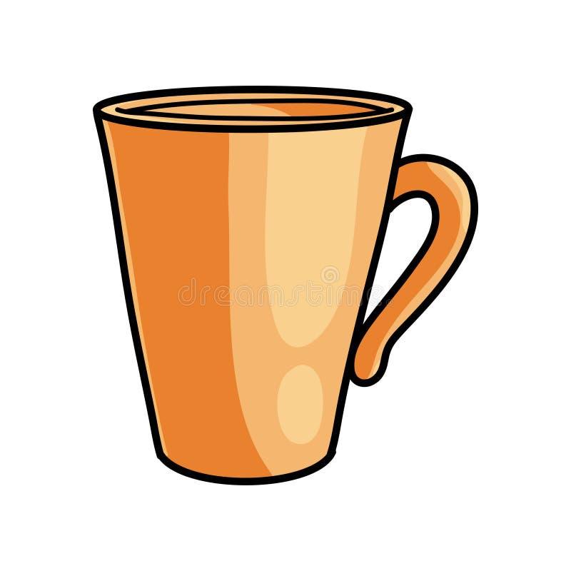 Caneca alaranjada do café quente, energia rápida no trabalho ilustração stock