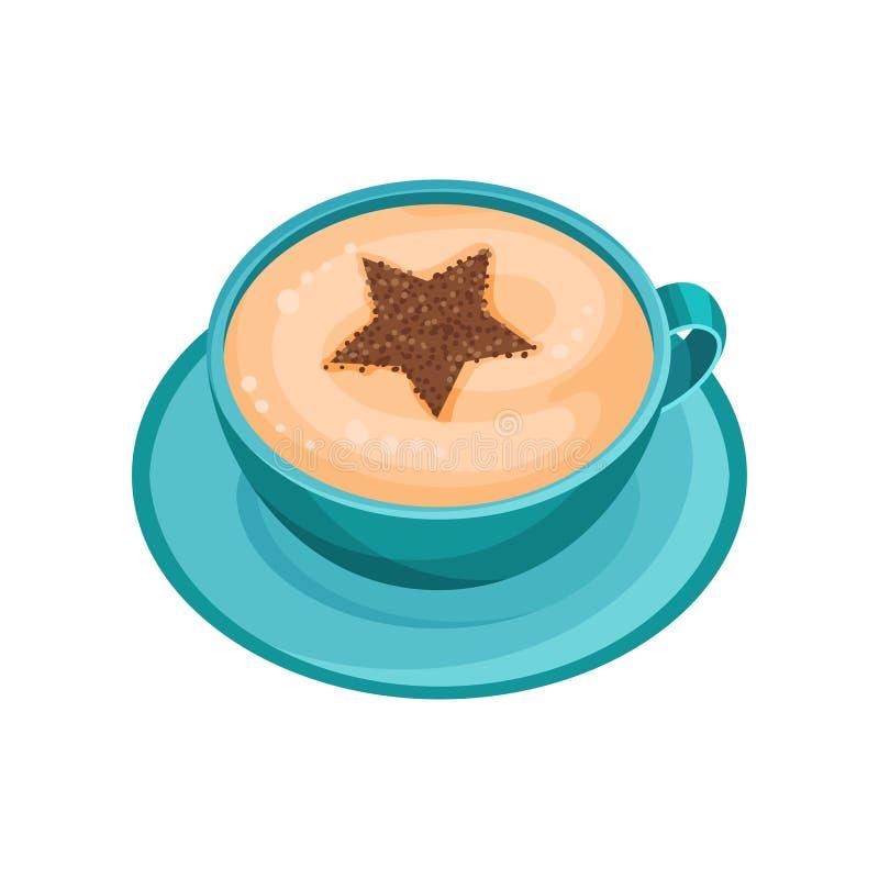 Caneca azul de café com a estrela que tira na espuma do pó da canela Arte do Latte Copo do ícone liso do vetor do cappuccino fres ilustração royalty free