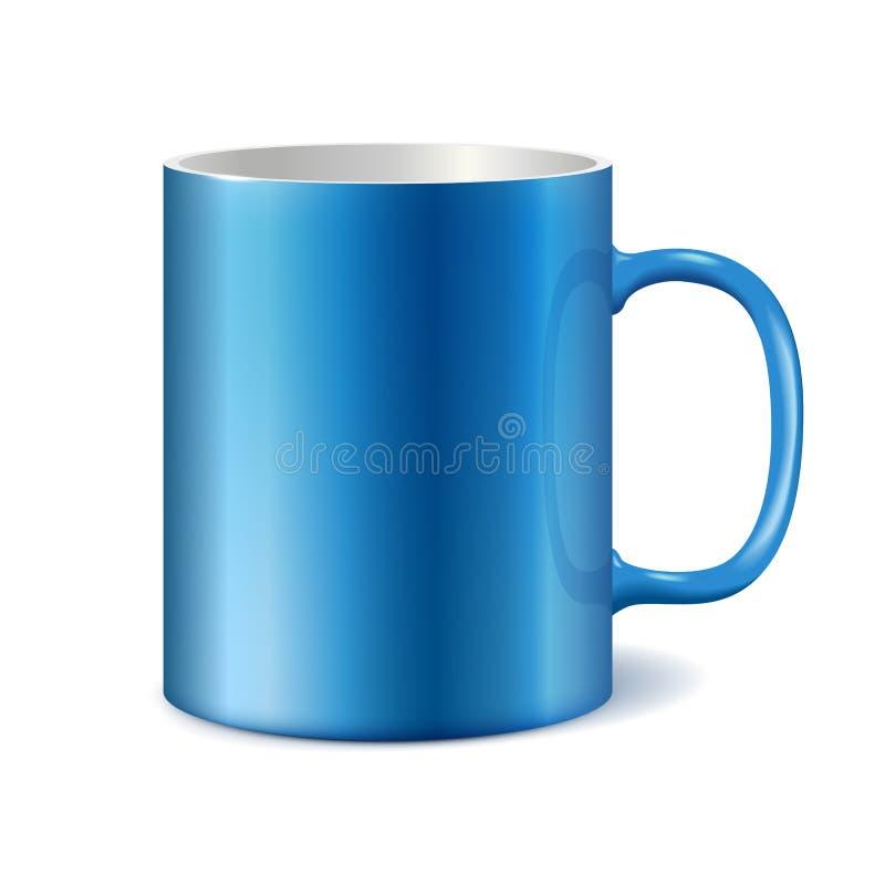 Caneca cerâmica azul e branca para imprimir o logotipo incorporado ilustração stock