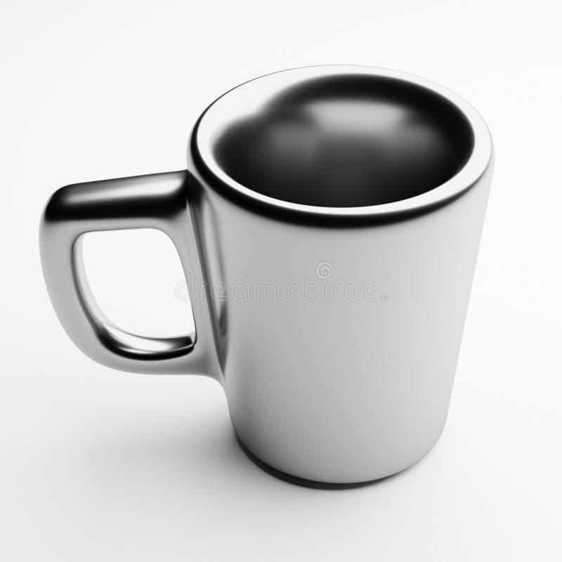 Caneca cerâmica com revestimento de prata, 3d rendição, copo de café imagens de stock