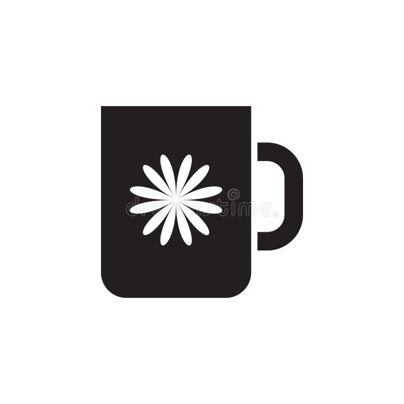 caneca com ícone da flor Elemento da ilustração da casa de impressão Ícone superior do projeto gráfico da qualidade Sinais e cole ilustração royalty free