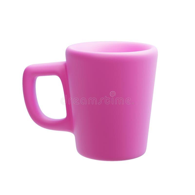 Caneca cor-de-rosa cerâmica isolada no branco, 3d rendição, copo de café imagem de stock royalty free