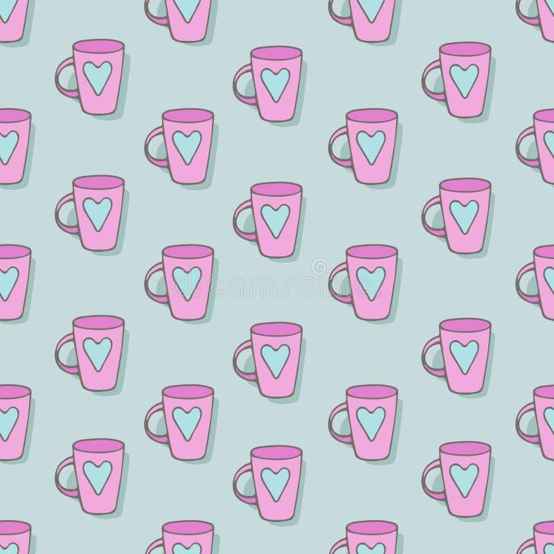 Caneca cor-de-rosa com uma imagem do coração ilustração do vetor