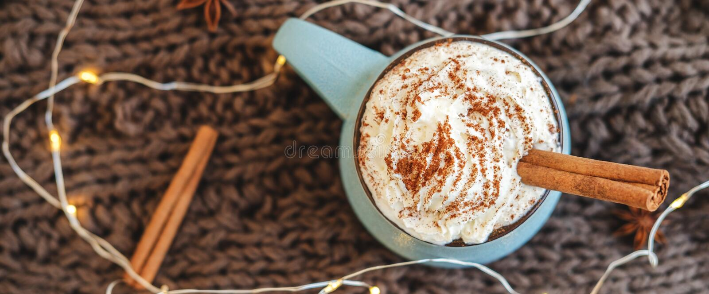 Caneca de café, de cacau ou de chocolate quente com chantiliy e canela no lenço com festão, estrela do anis Latte da abóbora - imagens de stock royalty free