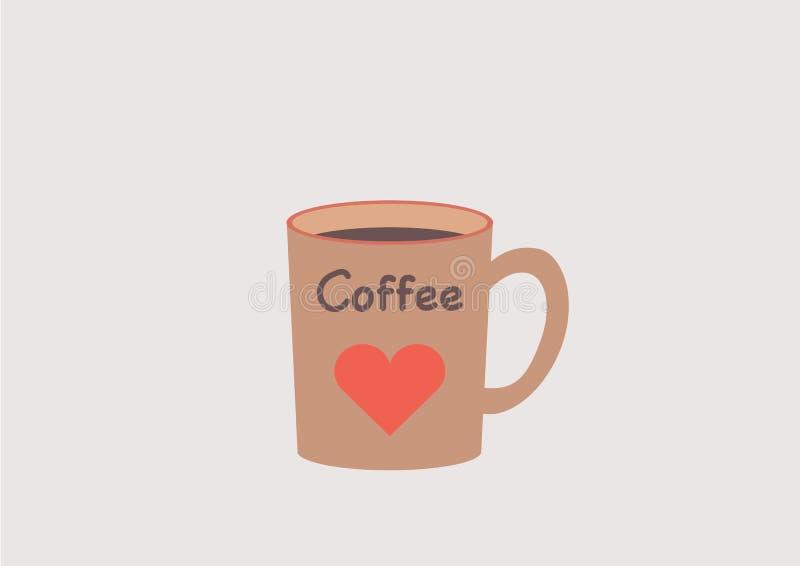 A caneca de café com um coração vermelho e o café text Ame uma ruptura de café foto de stock