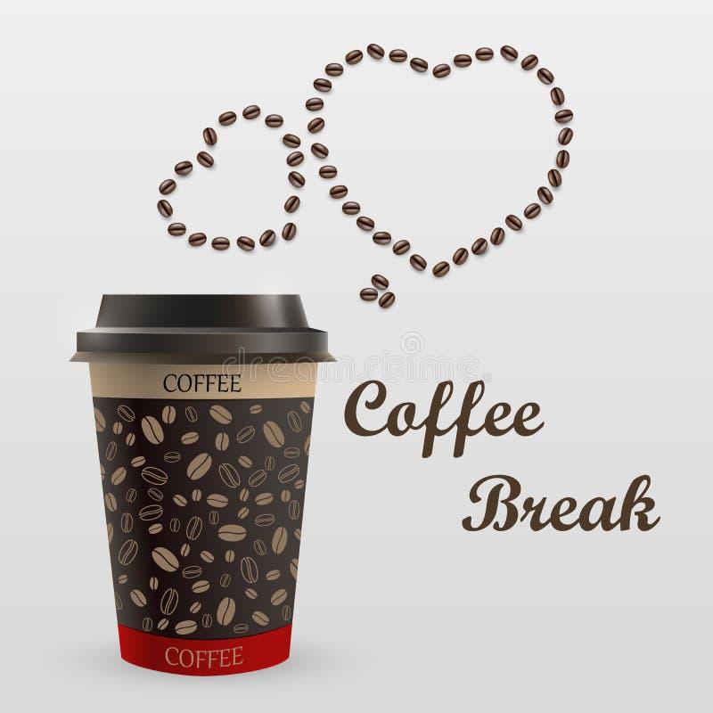 Caneca de café com uma mensagem ilustração stock