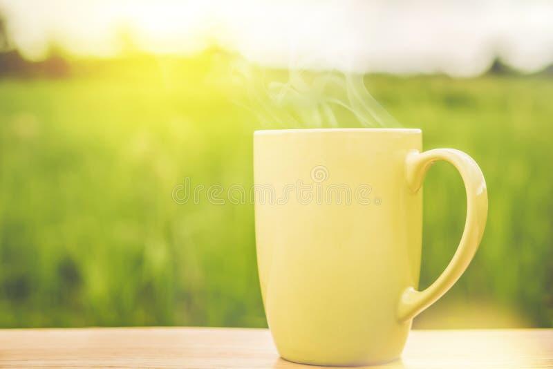 Caneca de café quente na tabela de madeira sobre o fundo do campo do arroz do verde da natureza imagem de stock royalty free